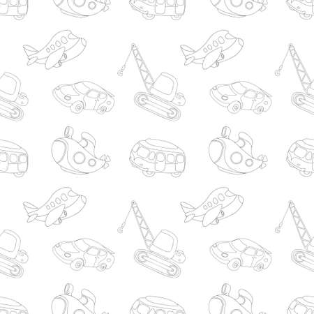 Seamless texture with black-white transport: submarine, car, bus, aircraft and crane. Vector illustration for kids Illustration