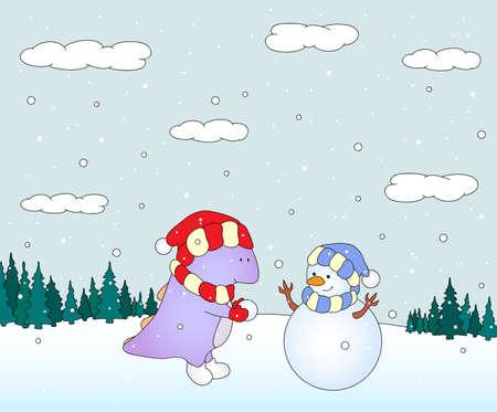Cute chubby dragon sculpts snowman in a snowy forest. Christmas postcard. Vector illustration