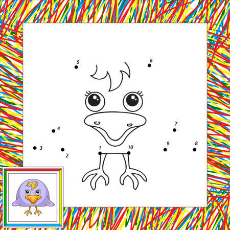 carrion: Funny and cute crow. Vector illustration for children. Dot to dot game Illustration