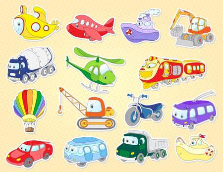 一連の漫画トランスポート: 飛行機、電車、バス、車、ヘリコプター、バン、車両、航空機、タクシー、クレーン、掘削機。子供のためのベクトル図