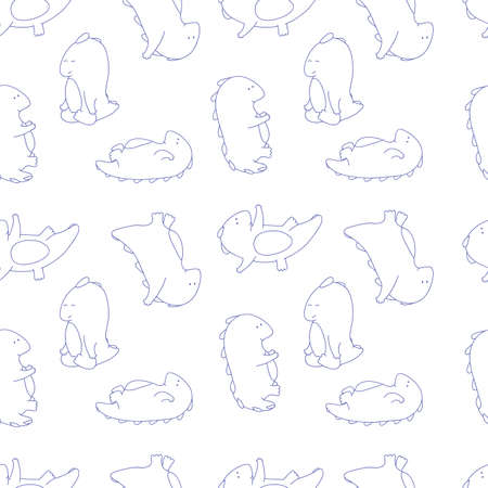 plump: Seamless texture with plump dragon doing gymnastic exercises and yoga asanas. Vector background about sport Illustration