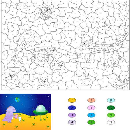 Farbe Nach Anzahl Lernspiel Für Kinder. Kürbis-Schneemann, Der Nahe ...