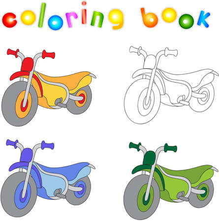 Funny cartoon motorcycle. Coloring book for kids. Vector illustration