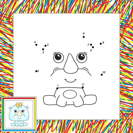 rhino vector: Funny cartoon rhino. Vector illustration for children. Dot to dot game