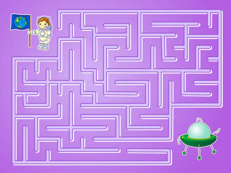 maze: Help astronaut to find way to the flying saucer and find spaceship in a maze. Educational game for children. Vector illustration Illustration