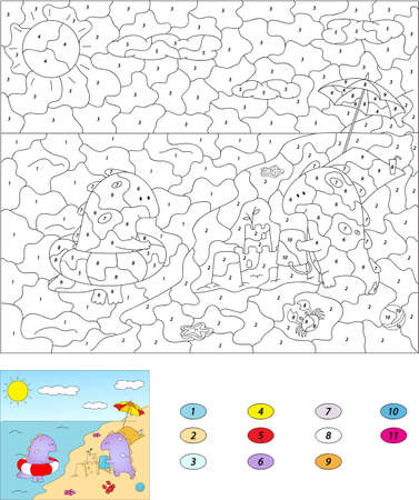 Color by number educational game for kids. Cute cartoon dragons on the summer beach. Vector illustration for schoolchild and preschool