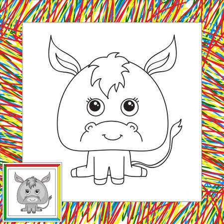 Funny and cute donkey. Vector illustration for children. Coloring book for kids