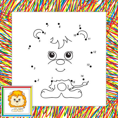 undomesticated: Funny cartoon lion. Vector illustration for children. Dot to dot game
