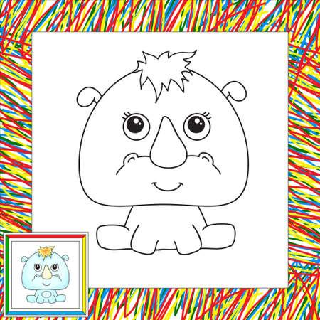 rhino vector: Funny cartoon rhino. Vector illustration for children. Coloring book for kids