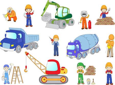 concrete mixer truck: Engineer, technician, painter, welder and labor worker working on a construction. Cartoon bulldozer, concrete mixer, truck, excavator and tractor set. Vector illustration Illustration