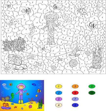 ocean floor: Color by number educational game for kids. Diver on the ocean floor. Vector illustration for schoolchild and preschool