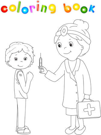 stethoscope boy: Doctor makes vaccination to the patient. Coloring book for kids about healthcare. Vector illustration