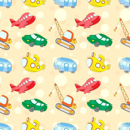 cartoon submarine: Seamless texture with transport: submarine, car, bus, aircraft and crane. Vector ilustration for kids Illustration