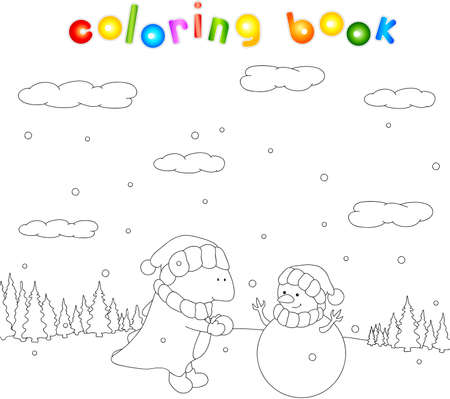 christmas dragon: Cute chubby dragon sculpts snowman in a snowy forest. Christmas coloring for kids. Vector illustration