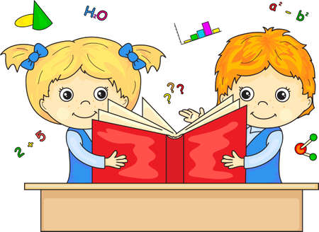 girl reading book: Boy and girl reading book together.illustration for children