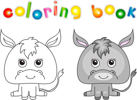 Funny and cute donkey. illustration for children. Coloring book Imagens
