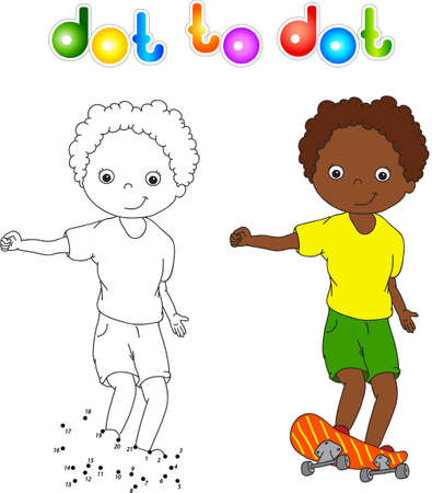skateboard boy: Boy on a skateboard. Coloring book for children dot to dot