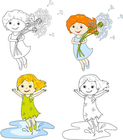 puddles: Girl flying with dandelions. Girl jumping in puddles. Coloring book, summer illustration