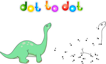 Funny cute diplodocus. Educational game for kids. Connect digits dot to dot and ge image. illustration