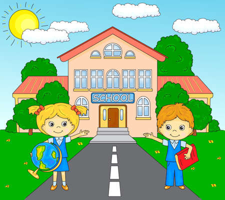 schoolyard: Boy and girl standing near the school building in a schoolyard. illustration for children. Coloring book Stock Photo