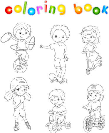 following: Children riding unicycle, bicycle and scooter, rollerblading and skateboarding. illustration. Coloring book