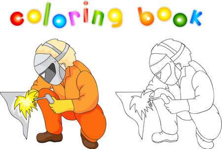 protective gas mask: Welder in boilersuit and protective mask with a gas burner. Coloring book. illustration