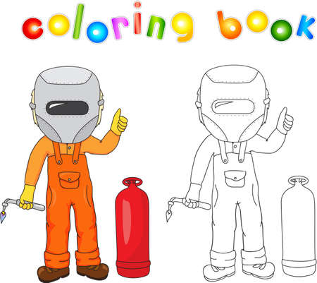 protective mask: Welder in boilersuit and protective mask with a gas burner and gas balloon. Coloring book. illustration
