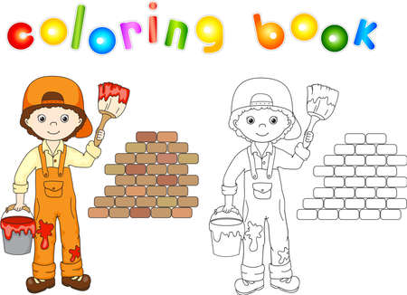 wall paint: Painter in overalls and cap visor backwards. Brick wall, paint brush and bucket of paint. Coloring book. illustration