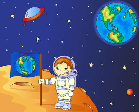 moon surface: Astronaut with Earth flag on the moon surface in space colorful illustration