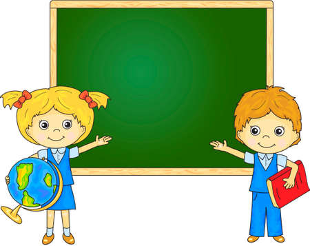 students in class: Boy and girl standing near the blackboard in a classroom. illustration for children