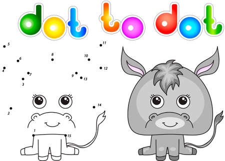 ass donkey: Funny and cute donkey. illustration for children. Dot to dot game