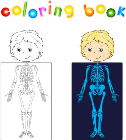 sceleton: Boy, patient whose body is shown in the X-ray. illustration. coloring book