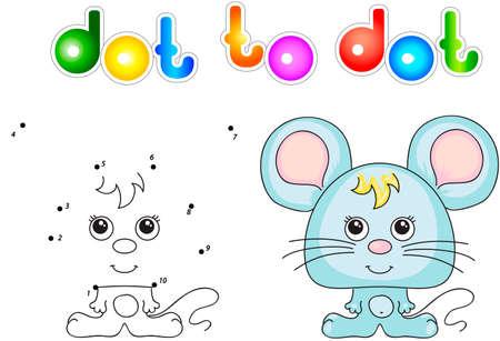 rata caricatura: Rat�n divertido y lindo. ilustraci�n para ni�os. Punto para puntear el juego