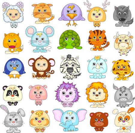 재미있는 만화 동물의 전체 집합입니다. 벡터 일러스트 레이 션.