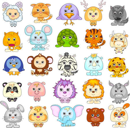 tigre bebe: Conjunto completo de animales divertidos dibujos animados. Ilustración del vector.
