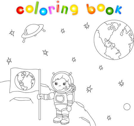 meteor crater: Astronaut with Earth flag on the moon surface in space coloring book