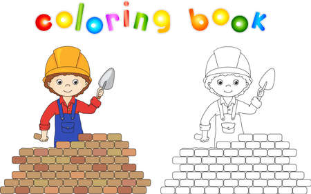laying: Young builder or engineer in a uniform and helmet with trowel near the brick wall. Coloring book. Game for children. illustration