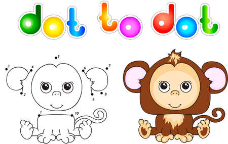 show plant: Funny and cute monkey. illustration for children. Dot to dot game