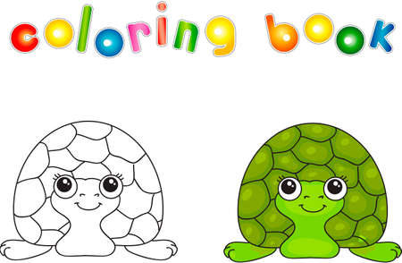Funny green turtle. illustration for children. Coloring book Stock Photo