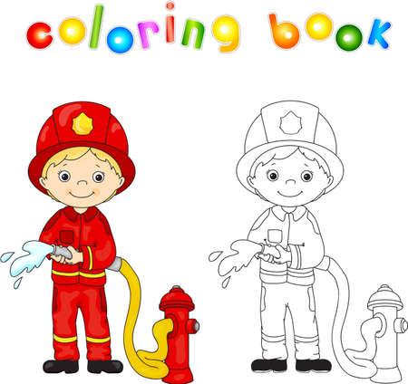 bombero de rojo: Bombero en un uniforme rojo y casco con una manguera en la mano. Libro de colorear. ilustraci�n