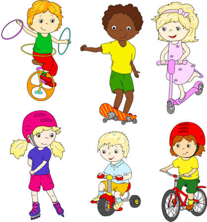 rollerblading: Children riding unicycle, bicycle and scooter, rollerblading and skateboarding. illustration Stock Photo