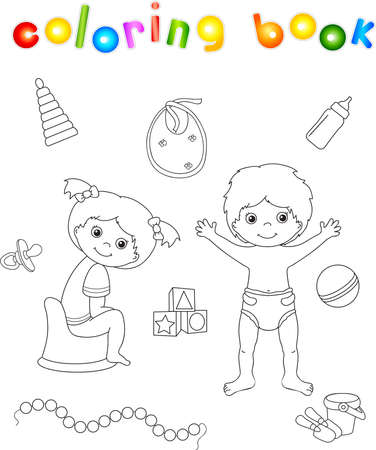 chamber pot: Girl sitting on the chamber pot and boy standing in diaper. Toys for children. Coloring book. illustration Stock Photo