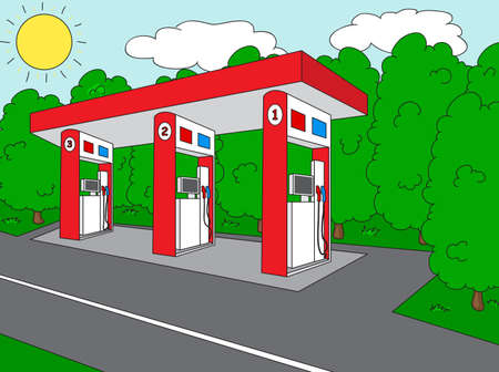 petrol station: Petrol station on the roan near the forest. illustration