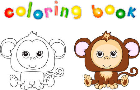 show plant: Funny and cute monkey. illustration for children. Coloring book Stock Photo