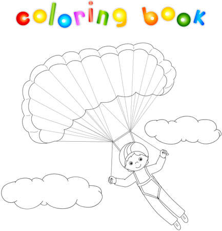 descends: Boy parachutist descends from the sky on a parachute through the clouds. Coloring book. illustration