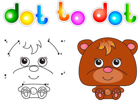 tardy: Funny and cute bear. illustration for children. Dot to dot game