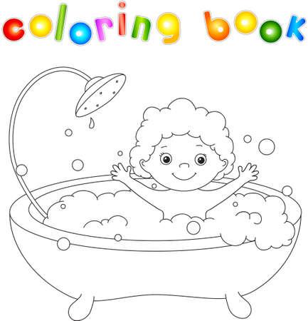 Sonriente Lindo Bebé Dragón Que Toma El Baño Con Espuma. Ilustración ...