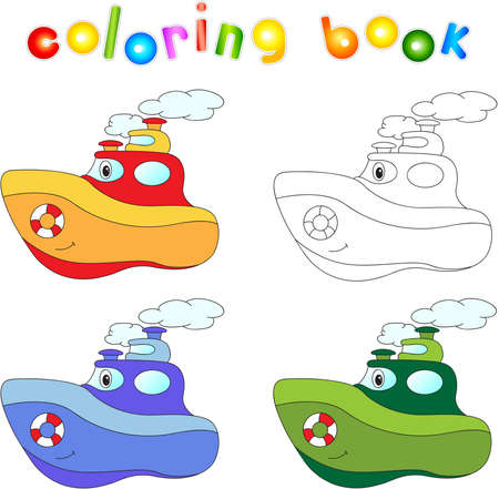 steamship: Funny cartoon steamship. Coloring book for children. Stock Photo