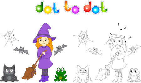 broomstick: Pretty friendly witch with a broomstick, bats, black cat and frog. Connect dots and get image. Educational game for kids.