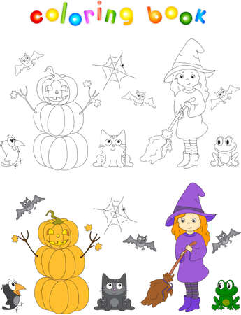 broomstick: Pretty friendly witch with a broomstick, pumpkin snowman, surprised crow, bats, black cat and frog. Coloring book to Halloween. Stock Photo